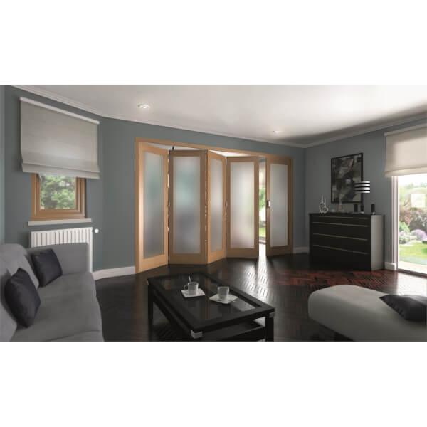 Shaker Oak 1 Light Obscure Glazed Interior Folding Doors 4 x 1 2047 x 3538mm