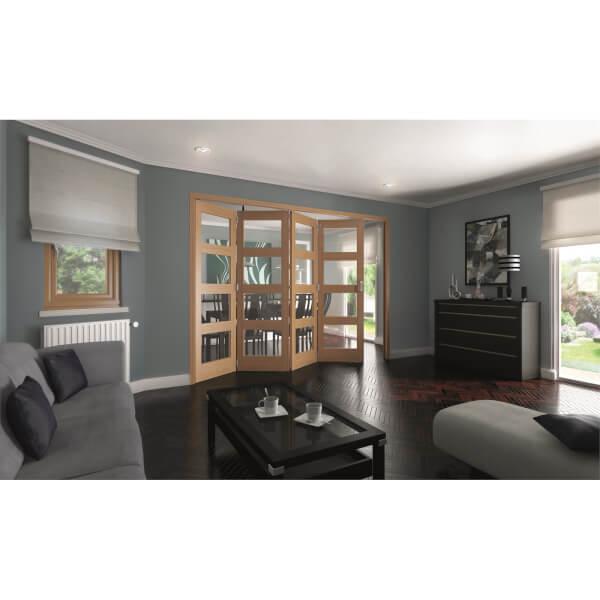Shaker Oak 4 Light Clear Glazed Interior Folding Doors 4 x 0 2047 x 2849mm