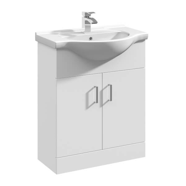 Balterley Orbit 650mm Freestanding Unit With Basin 1 - Gloss White