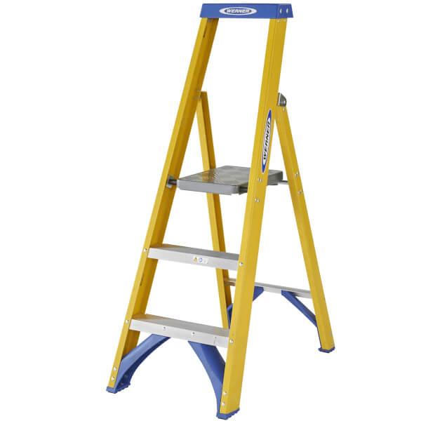 Werner Fibreglass Platform Step Ladder - 3 Tread