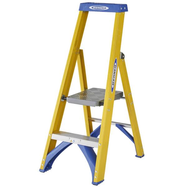 Werner Fibreglass Platform Step Ladder - 2 Tread