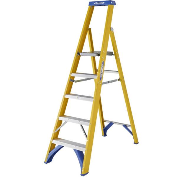 Werner Fibreglass Platform Step Ladder - 5 Tread