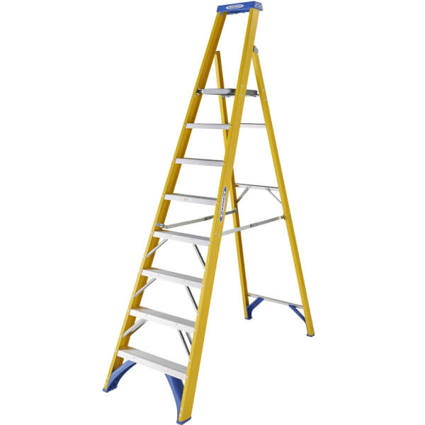 Werner Fibreglass Platform Step Ladder - 8 Tread