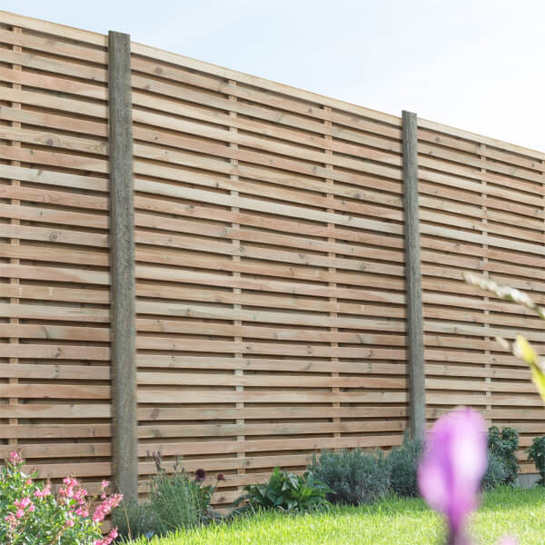 Forest Double Forest Slatted Fence Panel - 6ft - Pack of 3