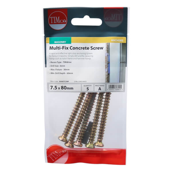 Concrete Screw Zyp 7.5mm x 80mm - Pack of 5