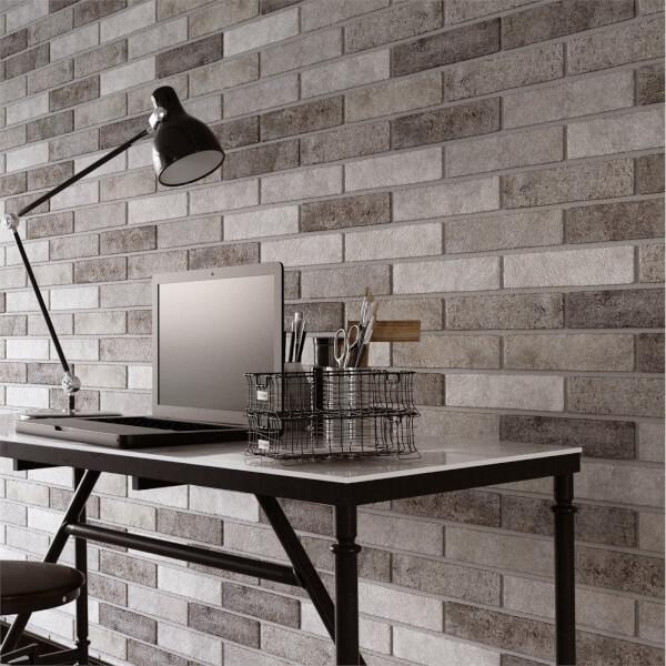 Seven Tones Grey Brick Wall Tiles - 250 x 60mm