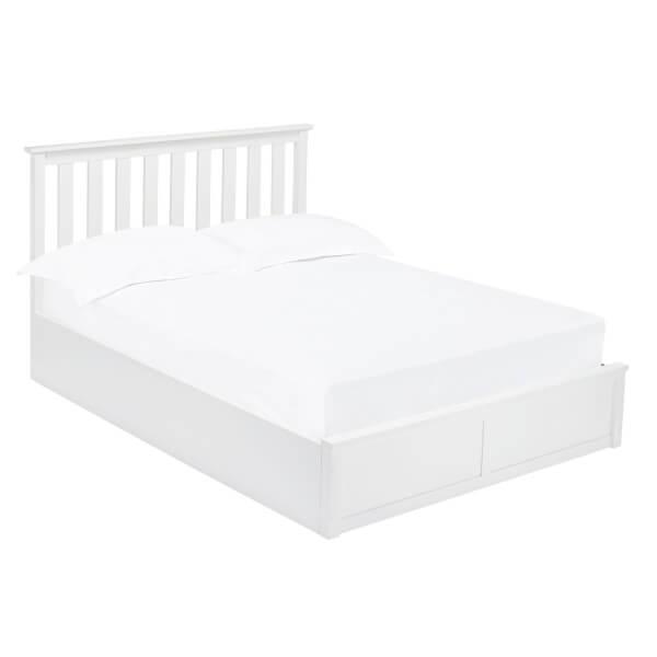 Oxford Double Ottoman Bed - White