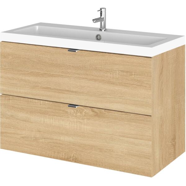 Balterley Dynamic 800mm Wall Hung Vanity Unit with Basin - Natural Oak