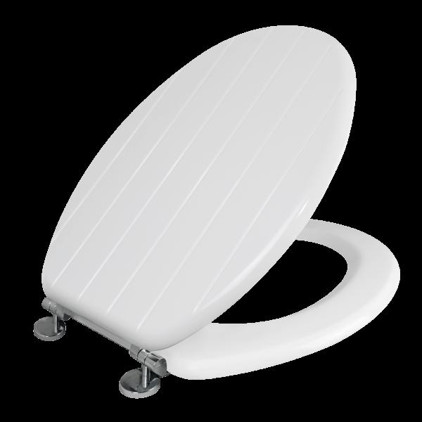Allana Tongue & Groove White Toilet Seat