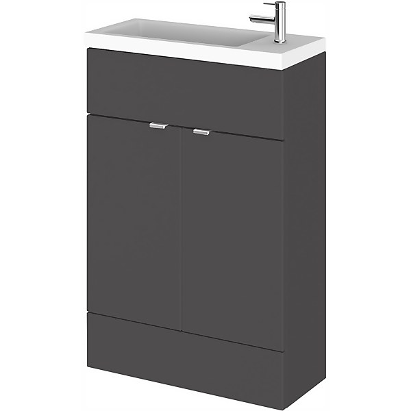 Balterley Dynamic 600mm Compact Vanity Unit with Basin - Gloss Grey