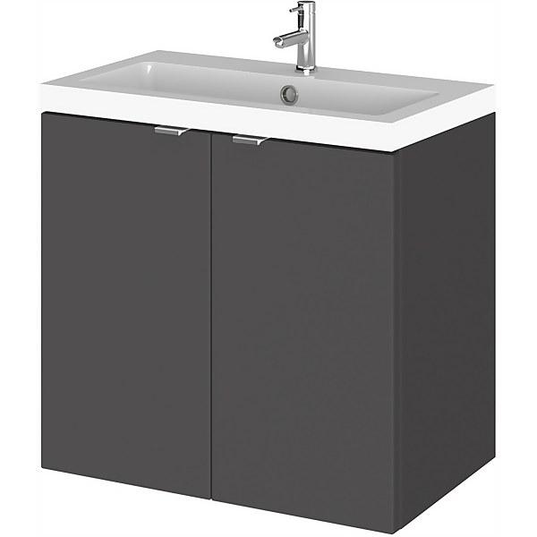 Balterley Dynamic 600mm Wall Hung Compact Door Unit with Basin - Gloss Grey