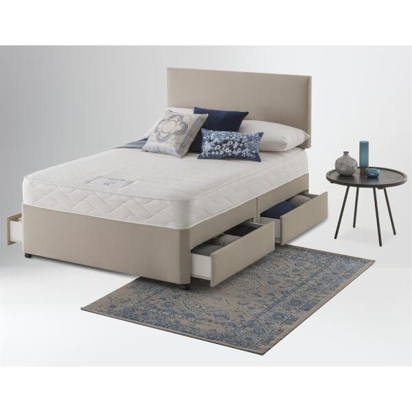 Layezee by Silentnight Memory Divan Bed 4 Drawer - Sandstone - Double