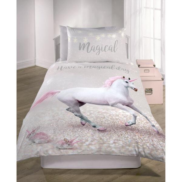 Catherine Lansfield Enchanted Unicorn Easy Care Kids Single Duvet Set - Pink