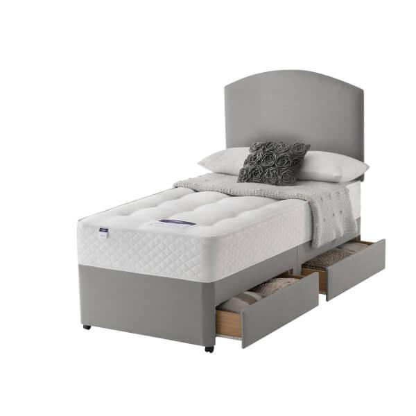 Silentnight Miracoil Ortho Divan Bed 2 Drawer - Slate Grey - Single