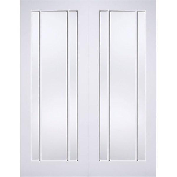 Lincoln Internal Glazed Primed White 3 Lite Pair Doors - 1168 x 1981mm