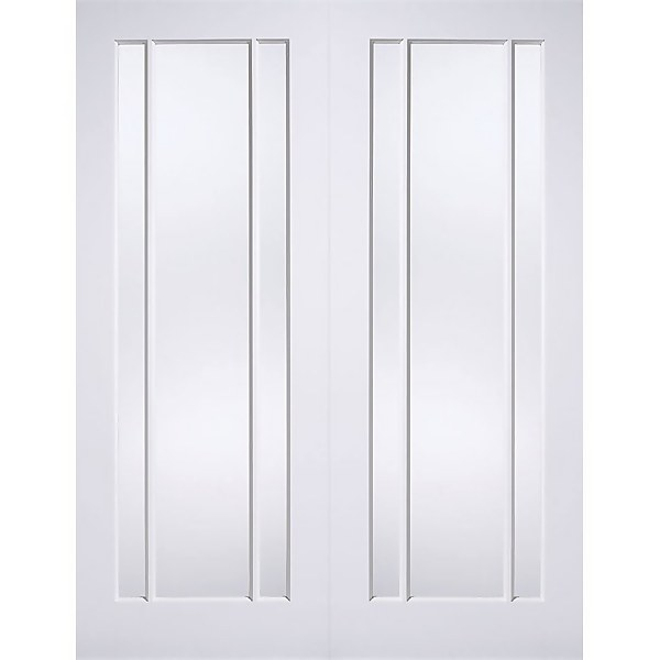 Lincoln Internal Glazed Primed White 3 Lite Pair Doors - 1087 x 1981mm