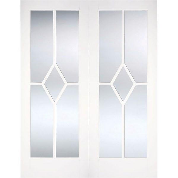 Reims Internal Glazed Primed White 5 Lite Pair Doors - 1372 x 1981mm