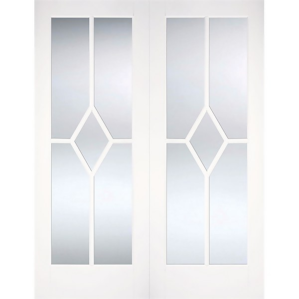 Reims Internal Glazed Primed White 5 Lite Pair Doors - 1168 x 1981mm
