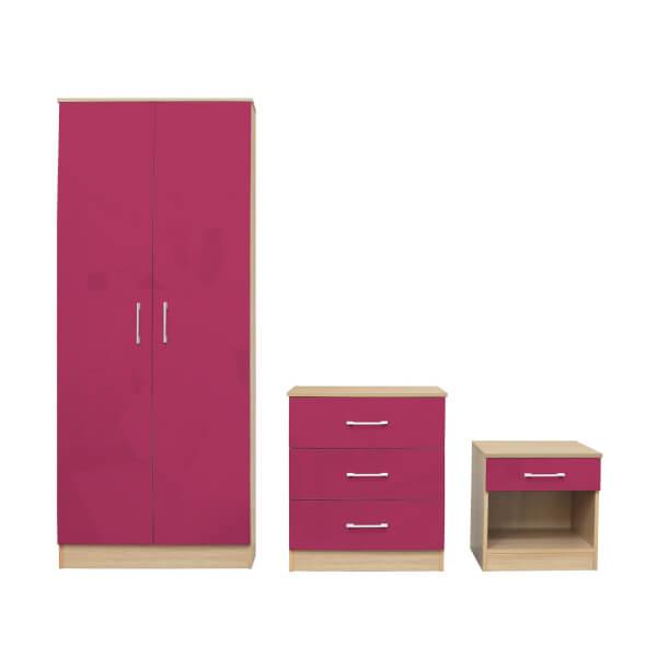 Dakota 3 Piece Bedroom Set - Pink