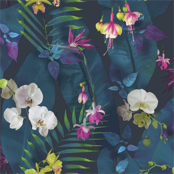 Arthouse Pindorama Floral Smooth Navy Wallpaper