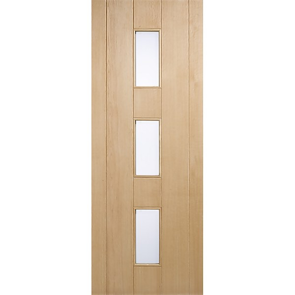 Copenhagen External Glazed Unfinished Oak 3 Lite Door - 838 x 1981mm