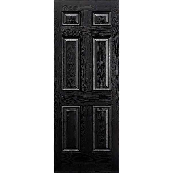Colonial External Black GRP 6 Panel Door - 813 x 2032mm
