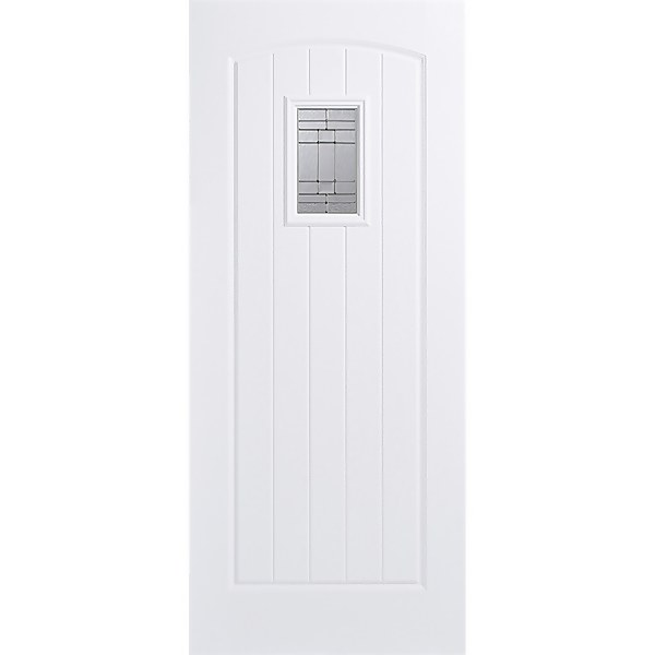 Cottage External Glazed White GRP 1 Lite Door - 838 x 1981mm