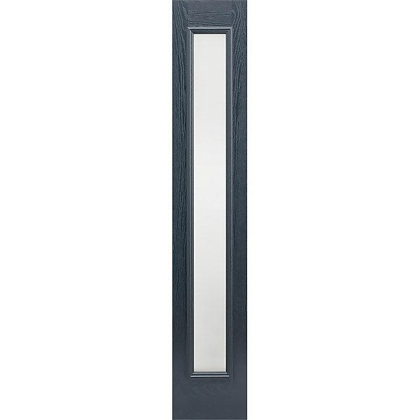 Frosted External Glazed Anthracite Grey GRP 1 Lite Sidelight - 356 x 2032mm