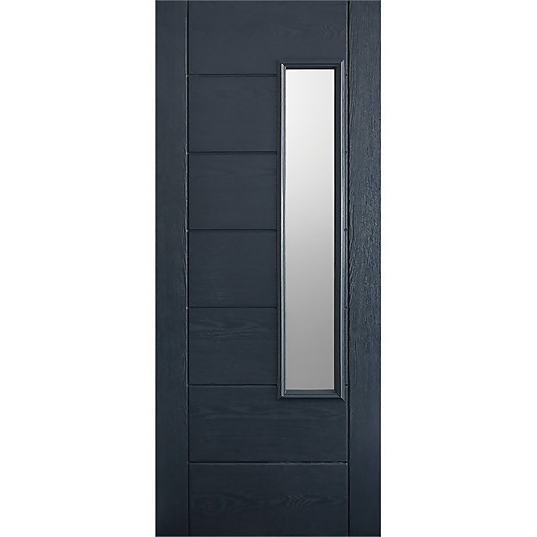 Newbury External Glazed Anthracite Grey GRP 1 Lite Door - 813 x 2032mm