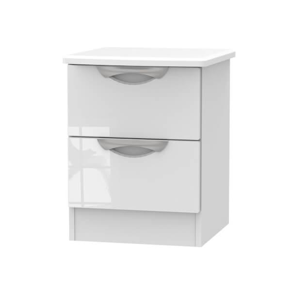 Portofino White Gloss 2 Drawer Bedside Cabinet