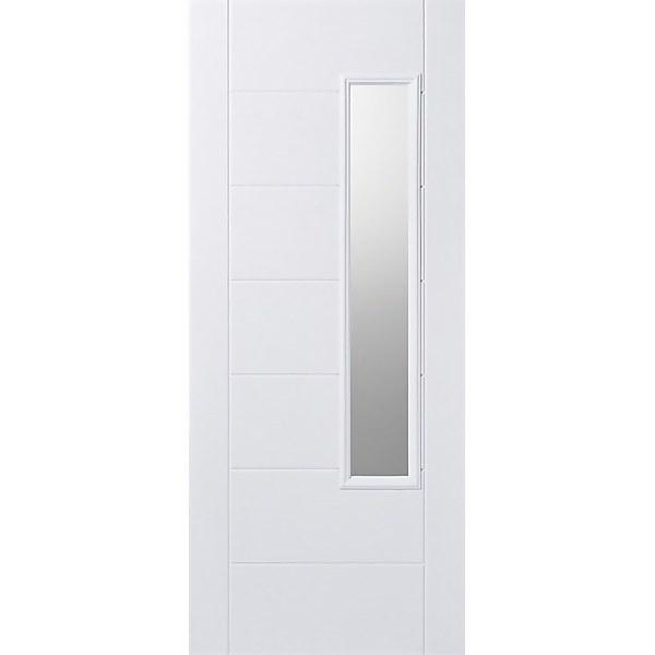Newbury External Glazed White GRP 1 Lite Door - 838 x 1981mm