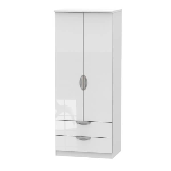 Portofino White Gloss 2 Drawer Wardrobe