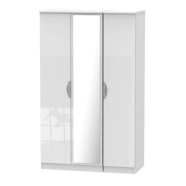 Portofino White Gloss Triple Mirror Wardrobe