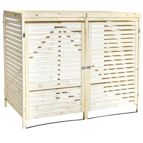 Charles Bentley FSC Wooden Double Wheelie Bin Storage Unit