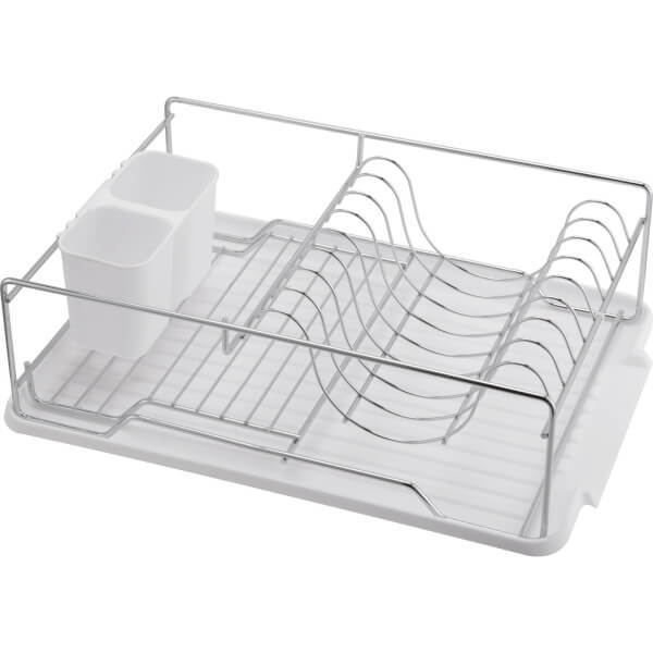 Dish Rack with Plastic Cutlery Holder