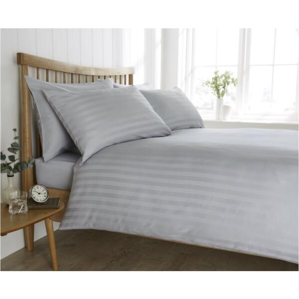 Behrens Satin Stripe Grey Double Duvet Cover Set