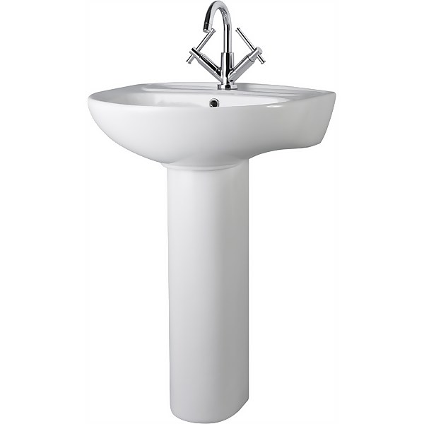 Balterley Adley 1 Tap Hole Basin and Full Pedestal - 550mm