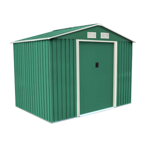 Charles Bentley 8ft x 6ft Green Metal Storage Shed with Zinc Floor Frame