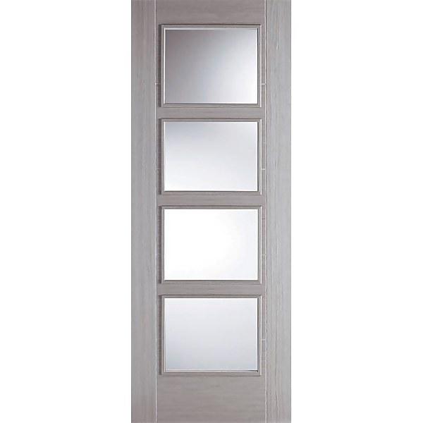 Vancouver Internal Glazed Prefinished Light Grey 4 Lite Fire Door - 686 x 1981mm