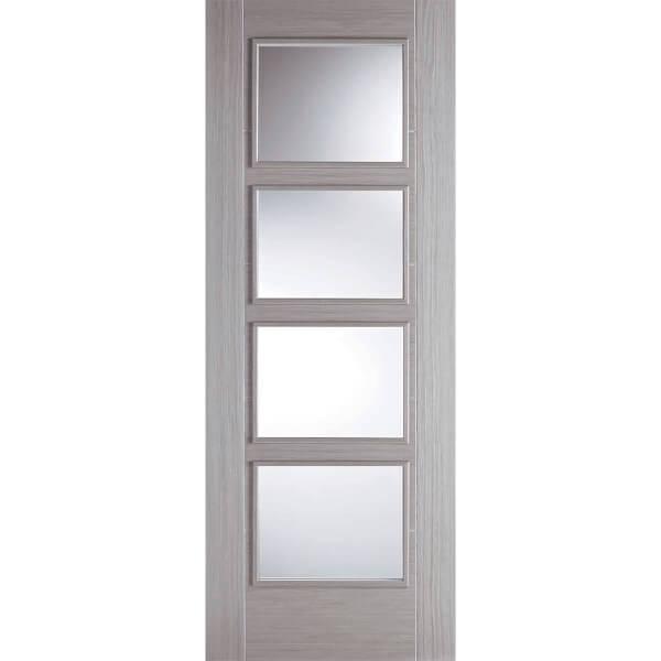 Vancouver Internal Glazed Prefinished Light Grey 4 Lite Fire Door - 762 x 1981mm