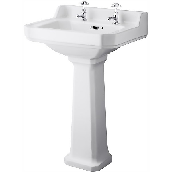Balterley Harrington Comfort Height 2 Tap Hole Basin Pedestal - 560mm