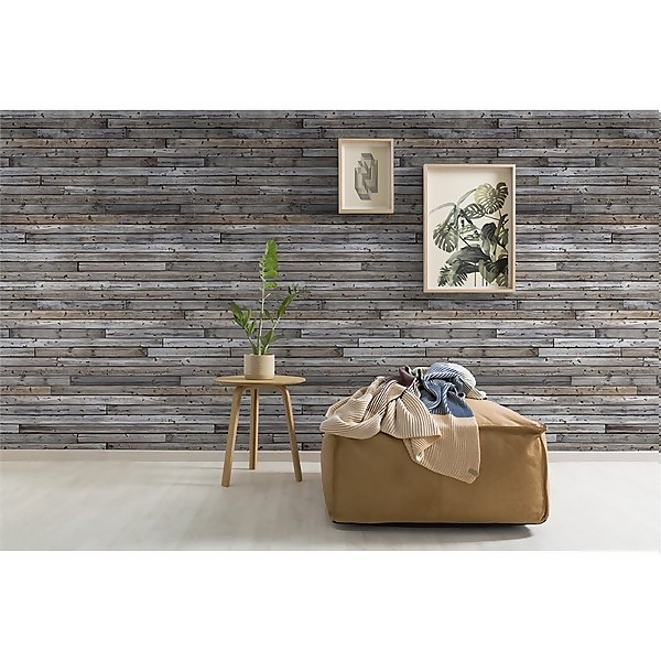 Grandeco Horizontal Wood Effect Digital Wallpaper Mural