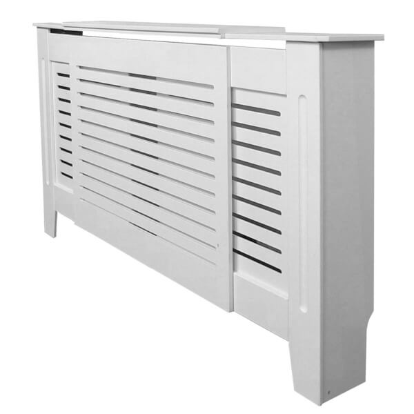 Horizontal White Radiator Cover - Adjustable