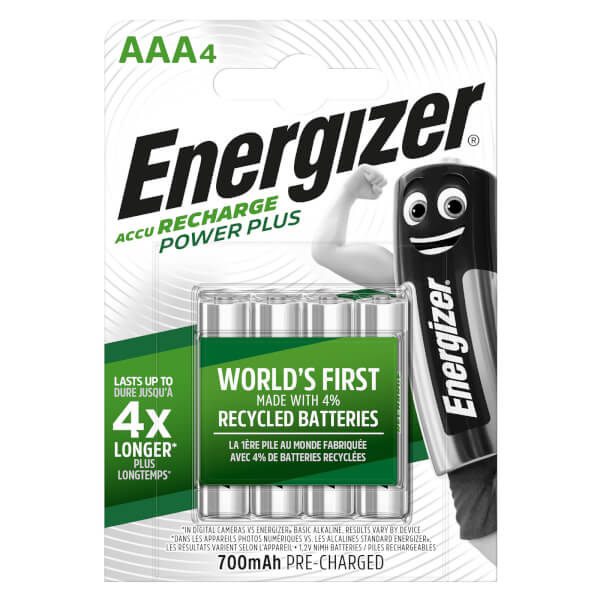 Energizer Power Plus 700mAh Rechargeable AAA Batteries - 4 Pack