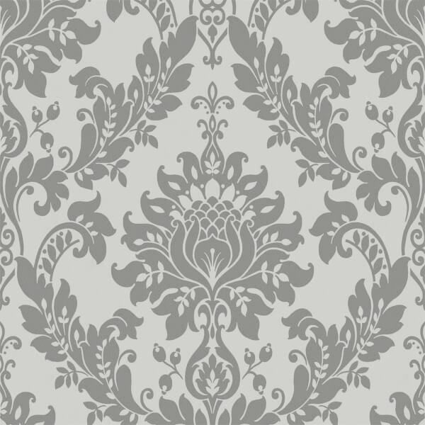 Holden Decor Clara Damask Plain Embossed Metallic Glitter Charcoal Wallpaper