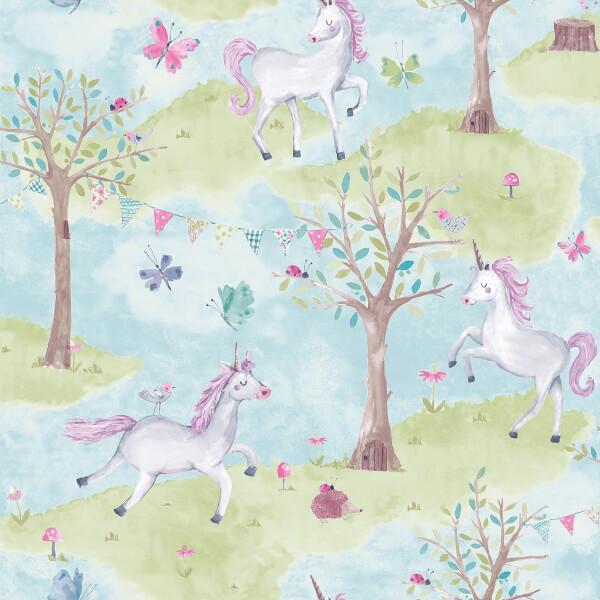 Grandeco Unicorns Teal Wallpaper