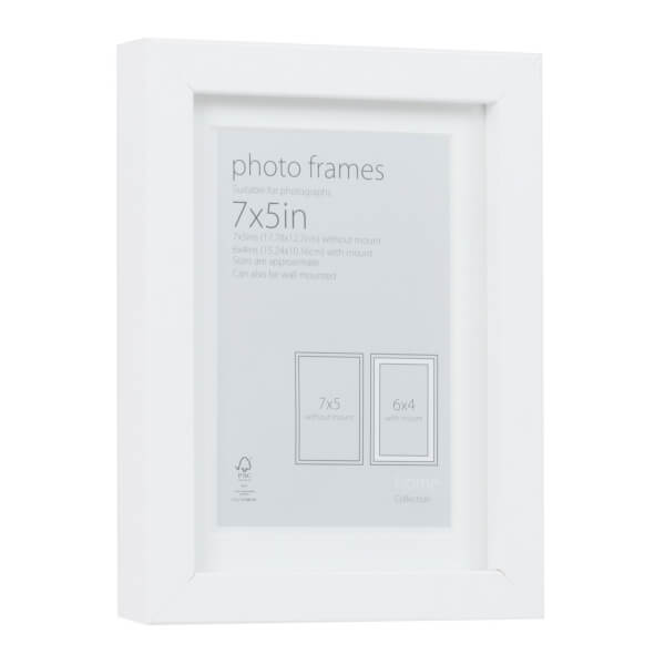 Photo Frame White 7 x 5 with 6 x 4 Mount Aperture