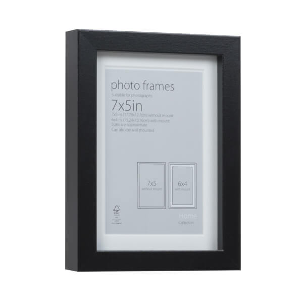 Photo Frame Black 7 x 5 with 6 x 4 Mount Aperture