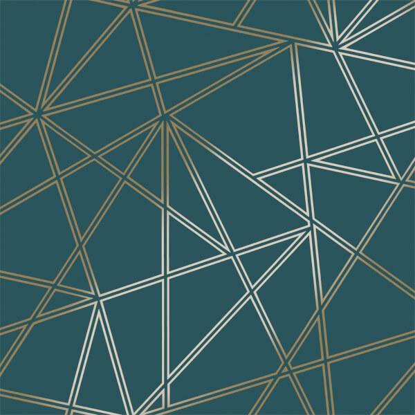 Holden Decor Paladium Geometric Smooth Metallic Teal and Gold Wallpaper