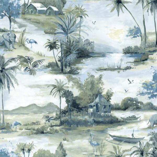 Holden Decor Manyara Jungle Smooth Metallic Navy and Teal Wallpaper